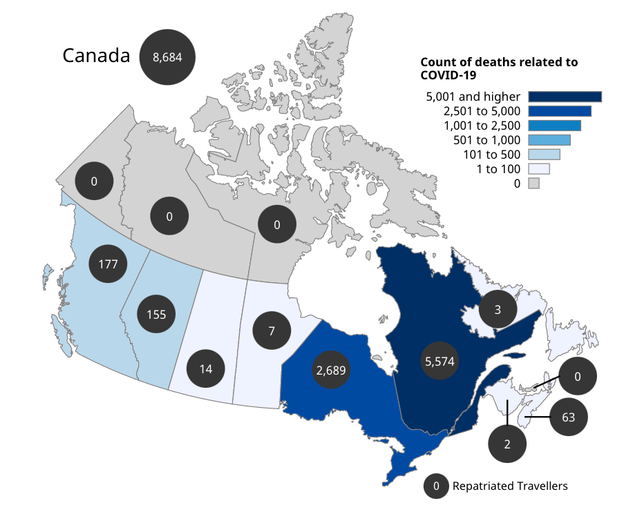 Map of Canada showing the number of deaths.