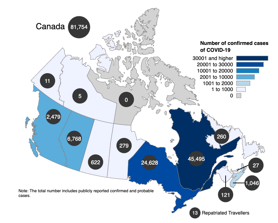 Map of Canada showing the number of confirmed cases per province