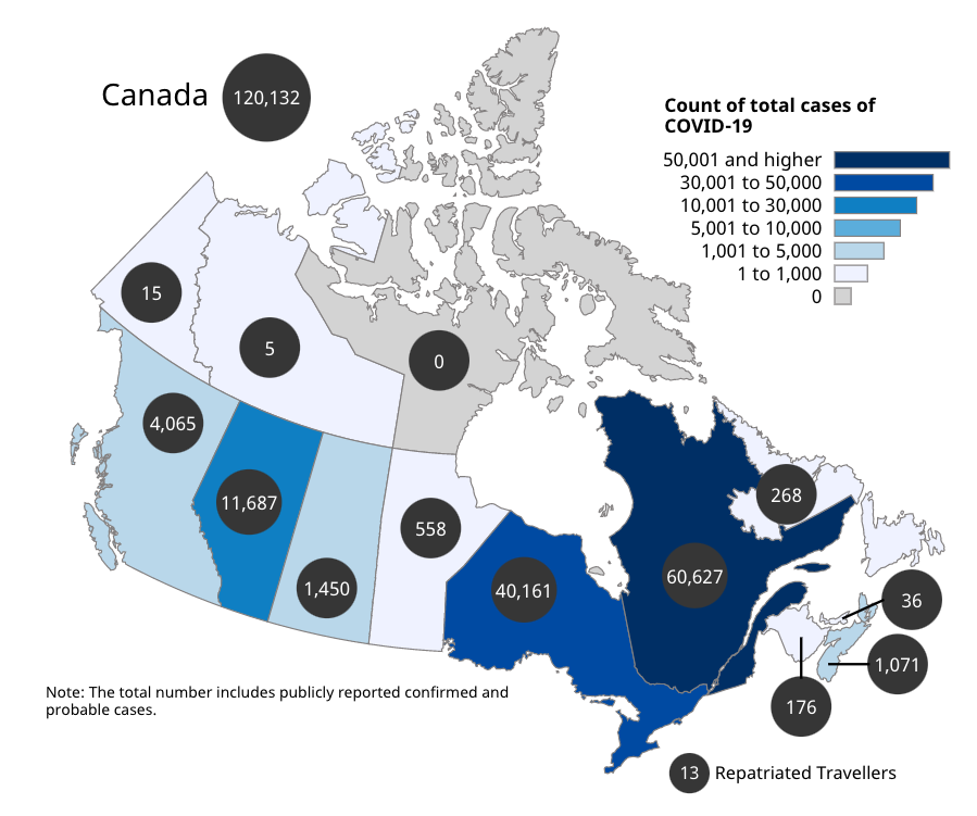 Map of Canada showing the number of total cases per province and territory