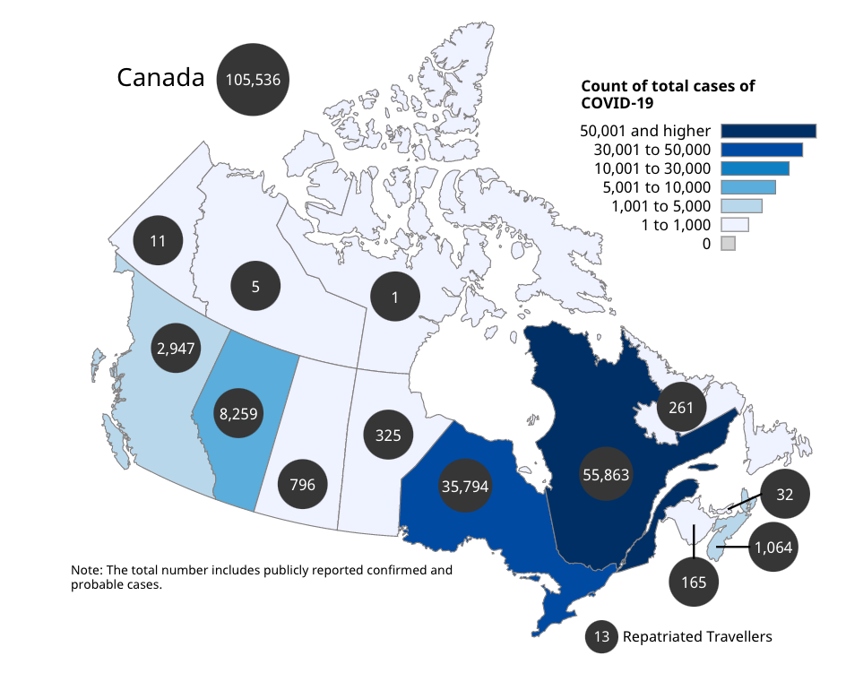 Map of Canada showing the number of total cases per province