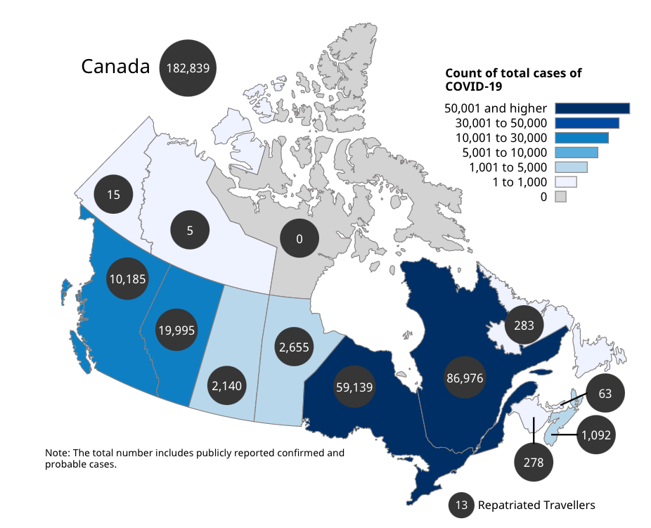 Map of Canada showing the number of confirmed cases.