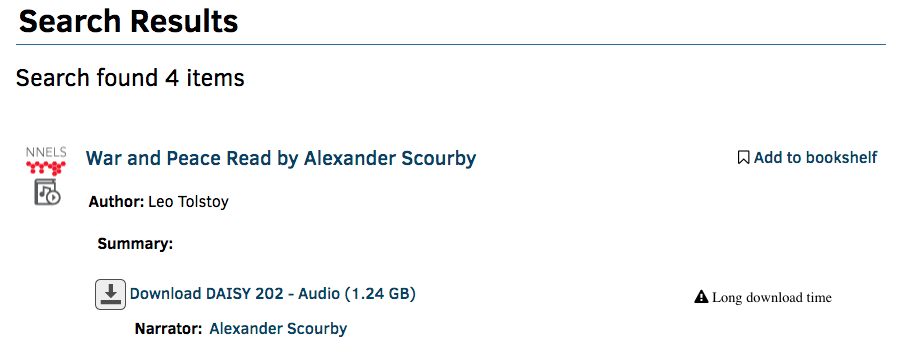 """A screenshot of search results, the image displays the heading """"Search Results"""" and one catalogue item, the title is """"War and Peace Read by Alexander Scourby""""."""