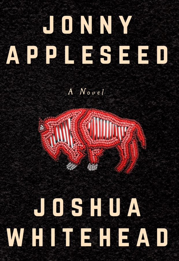 An image of a buffalo made using beads on black leather. Jonny Appleseed by Joshua Whitehead