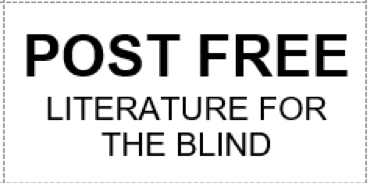 Sample Post Free label reads: Post Free Literature for the blind